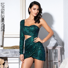 LOVE&LEMONADE  Sexy Green Cut Out Single Sleeve Glitter Glue Bead Material Bodycon Party Dress LM81650