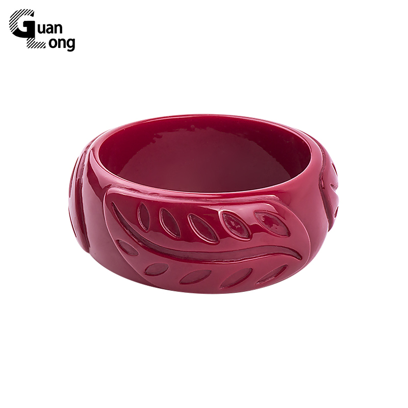 GuanLong Wholesale Carved Feather Resin Bangle Bracelet Small Size Women Bangles Pulseiras Drop Shipping