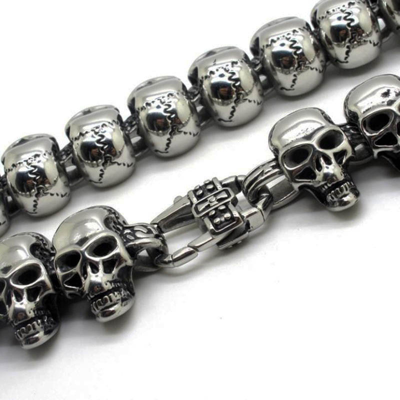 38g 100% Solid Sterling Silver 925 Skull Toggle Bracelet Men Fashion Thick Mens Bracelet Antique Thai Silver Male Jewelry - 3