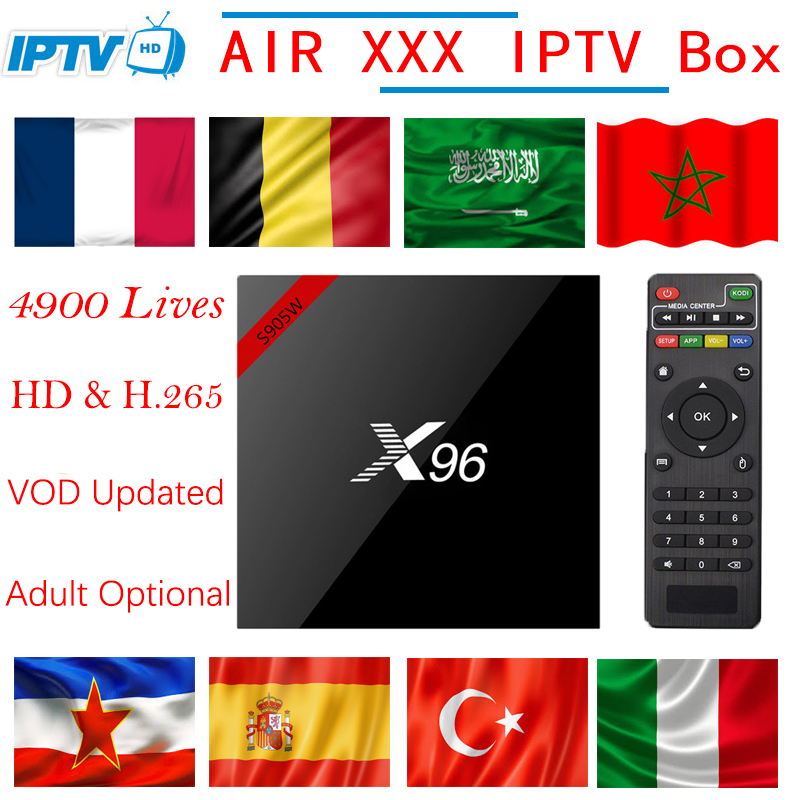 Europa IPTV X96 android TV box 7.1 + Abbonamento IPTV Francia Svezia Olanda Belgio UK USA Canada M3U adulto xxx smart tv box