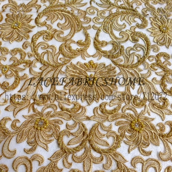 La Belleza  Super heavy beaded off white and other 9 colours wedding dress lace fabric 51'' width