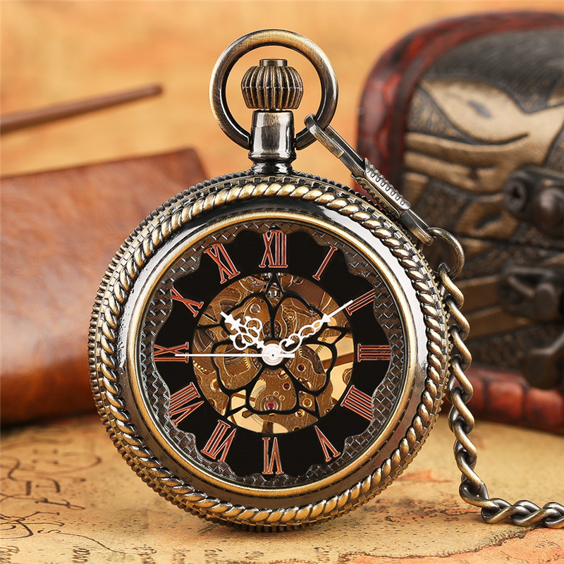 Vintage Retro Mechanical Pocket Watch Fob Chain Crystal Cover Pendant Watches for Men and Women Unisex Steampunk Clock Best Gift fashion silver steel steampunk mechanical pocket watch men women necklace clock gift fob vintage hollow pocket watch p802