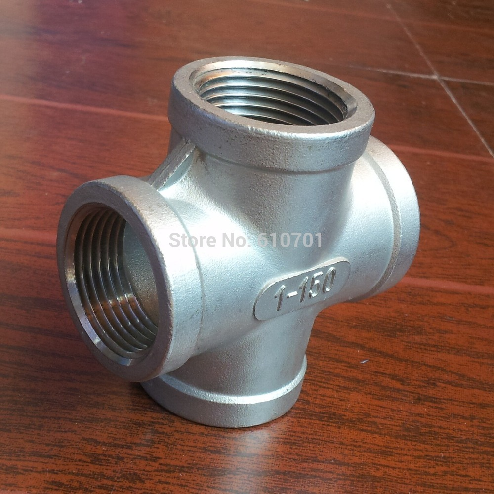 304 Stainless Steel Pipe Fitting 1 Thread 4 Way Female NPT Cross Coupling Connector