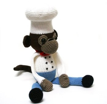 crochet toys  amigurumi cooking monkey   model number 0926