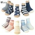 Recém-nascidos de inverno crianças meias 5 pcs adorável star dot listras meias unisex infantil meias de algodão do bebê crianças meias para menina menino