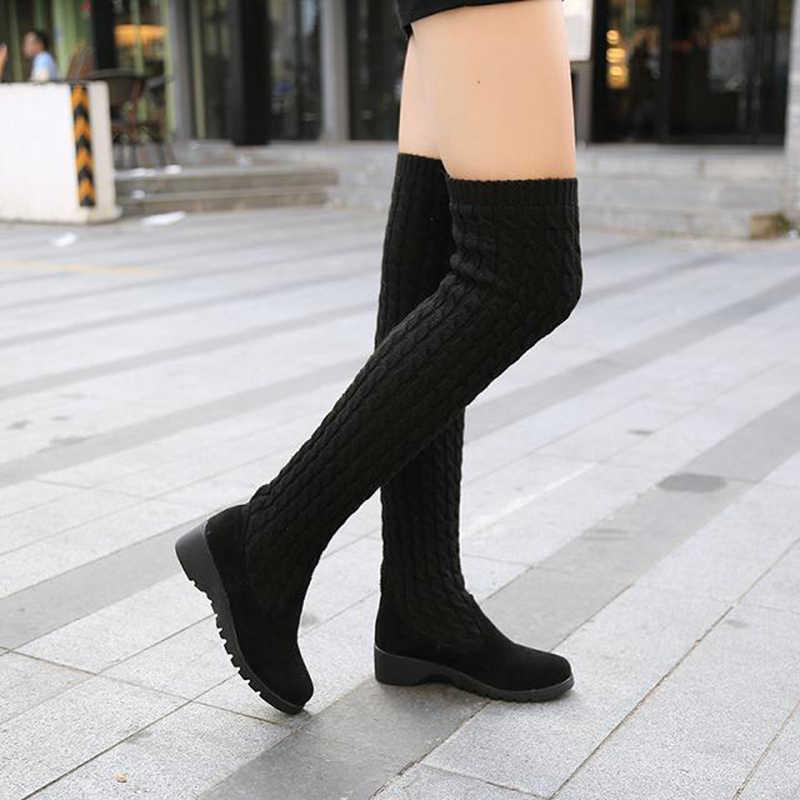 2019 женские сапоги; сезон осень-зима; женские сапоги до бедра; вязаная шерстяная обувь; высокие сапоги; женские сапоги; цвет коричневый, черный; женская обувь