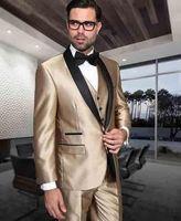 Последние конструкции пальто брюки золотой атласной мужской костюм Slim Fit 3 предмета шаль с лацканами смокинг на заказ жениха Блейзер Костюм