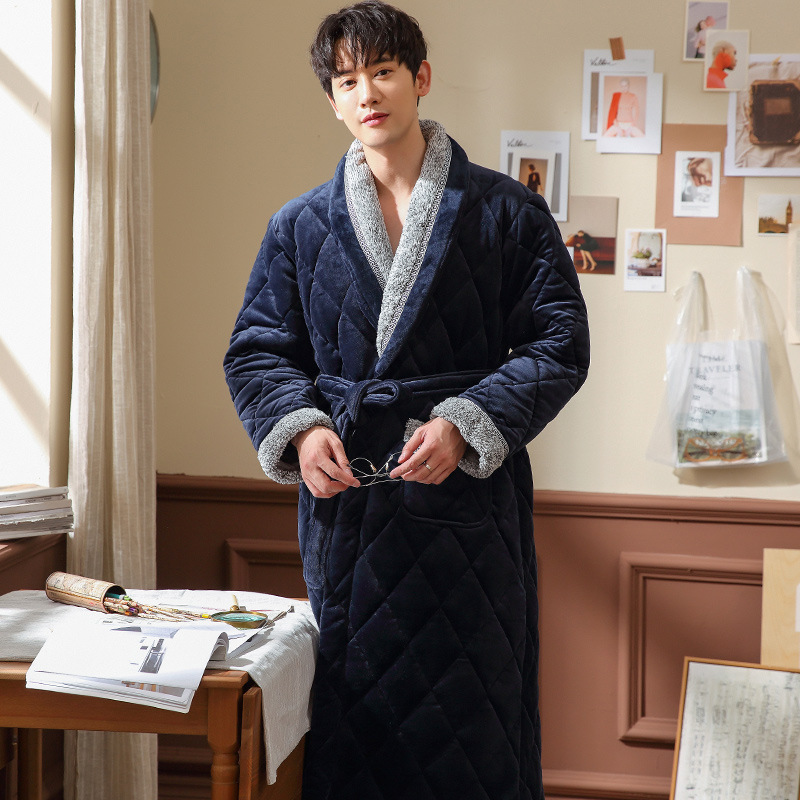 Plus Size 3XL Winter Bathrobes For Men Thickening Plus Velvet Three-layer Cotton Warm Robes Male Long Flannel Dressing Gown