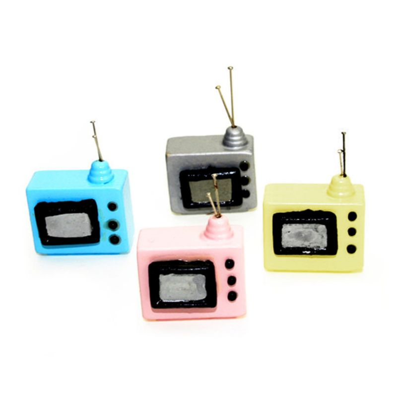 1:12 Scale Dollhouse Miniature Vintage Television TV With Antenna Doll House Accessories Living Room Home Decor