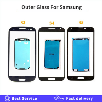 For Samsung Galaxy S3 i9300 i9305 i9300i i9301 i9301i S4 i9500 i9505 i337 S5 Front Panel Lens Outer Glass LCD Display + Adhesive image