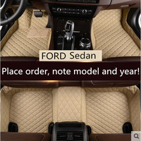 JIOYNG Car Custom Foot Mats 3D Luxury Leather Car Floor Mats For FORD Mondeo Focus ESCORT Sedan FREE BY EMS