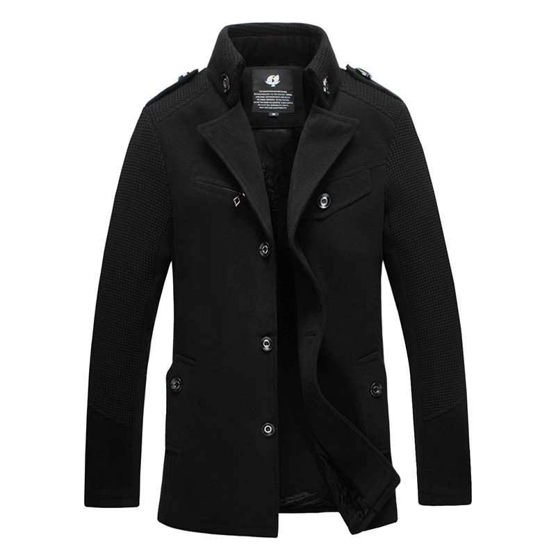 2017 fashion men woolen coats business casual jacket winter peacoat outerwear M L XL XXL 3XL