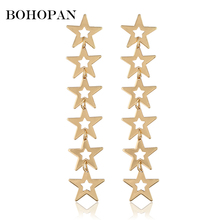 Creative Stars Earrings For Women Personalized Long Hollow Dangle Gold Silver Stud Simple Jewelry oorbellen Party