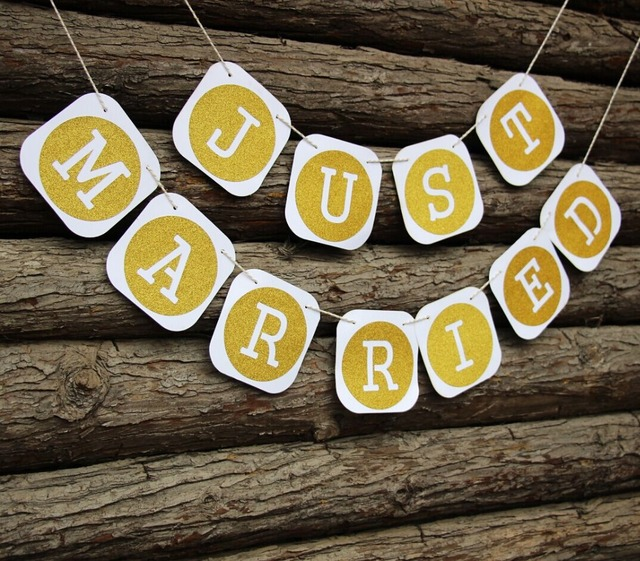 Gold Letter Wedding Banner Just Married Paper Garland Party Photo