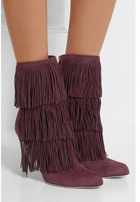 Women Solid Color Purple Fringe Decoration Pointed Toe Boots Back Zipper Mid-Calf Sexy Winter Boots High Quality 2017 winter female high heeled shoes solid high quality women casual boots zipper women mid calf boots pointed toe martin boots