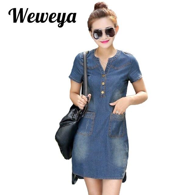 f1f1ebb9aa0f57a Weweya летнее джинсовое платье женское джинсовое платье свободного покроя с  короткими рукавами сексуальное платье миди с