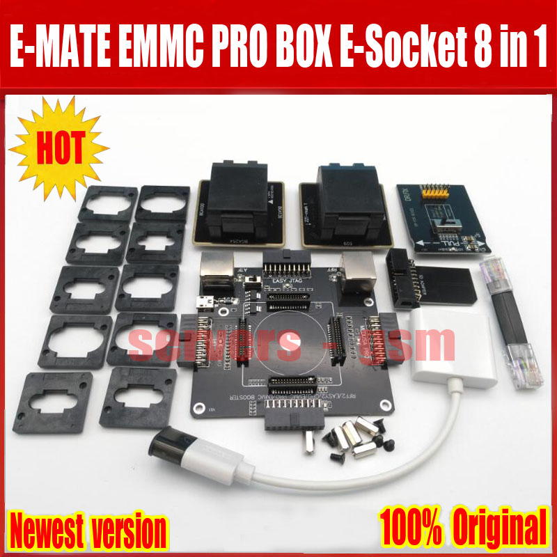 2018 Newest Original E-MATE BOX EMMC BGA 8 IN1 Support BGA100 136 168 153 169 162 186 221 529 254 for Easy jtag plus UFI box Rif