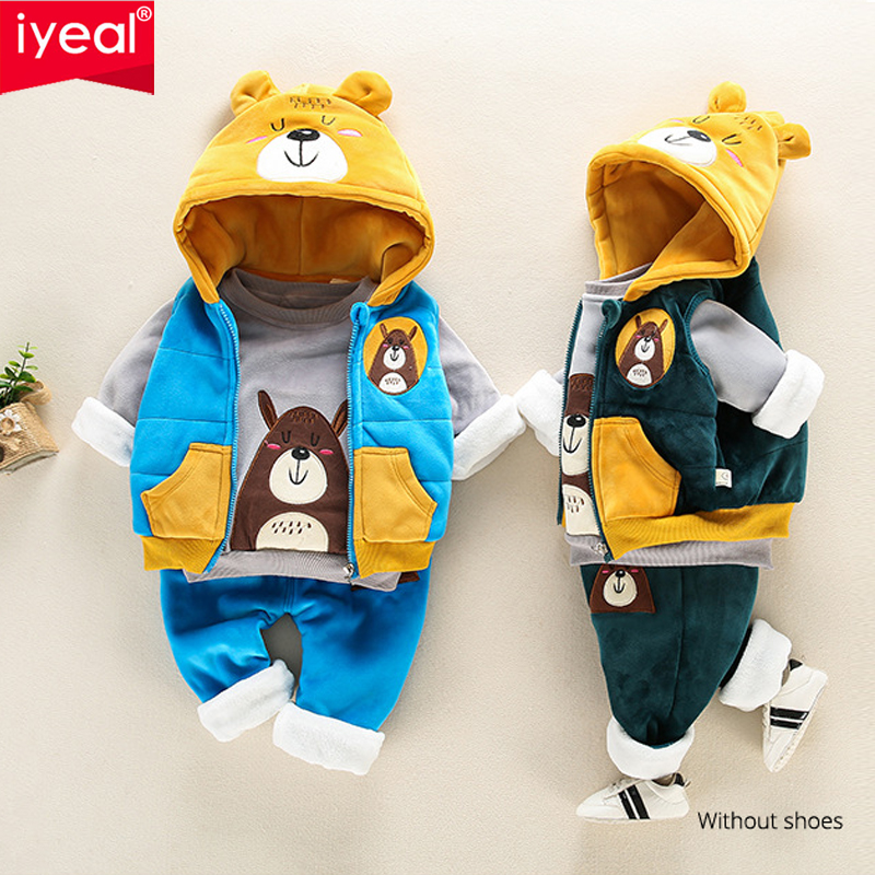 IYEAL Children Winter Clothing Sets Cartoon Bear Baby Boys Clothes Suits Warm Velvet Thicken Hooded Vest + Tops +Pants 3PCS/Set недорого