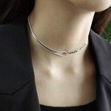 LouLeur 925 ayar gümüş AAA zirkon asimetri chokers kolye gümüş lüks zarif kolye kadınlar için festivali takı