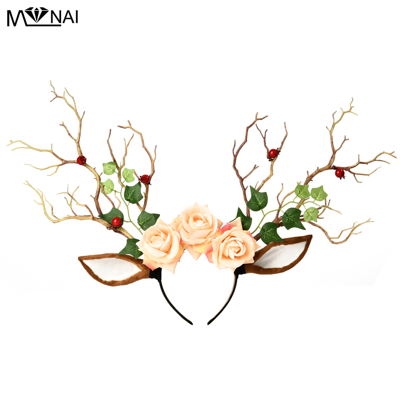 Unique Gothic Deer Horn Tree Branches Headband Vintage Antler Berry Leaves Headdress Exaggerated Halloween Party Cosplay