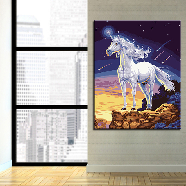 Home Decor DIY Painting By Numbers Hand Paint Abstract Horse Animals Pictures Wall Kits Coloring Unicorn Oil Canvas Living Room