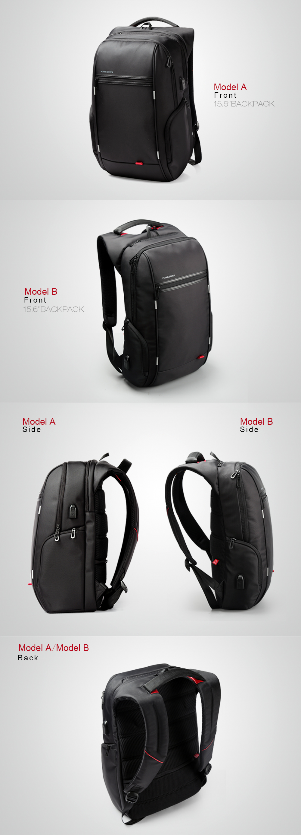 15 17 Laptop Backpack External Anti Theft Notebook Computer Bags For Men Women Bagpack Black Model B 17 Inches