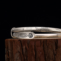 Браслет из чистого серебра 990 для женщин браслеты на запястье браслет расширяемый Винтаж буддизм Jewelry Armbanden Voor Vrouwen