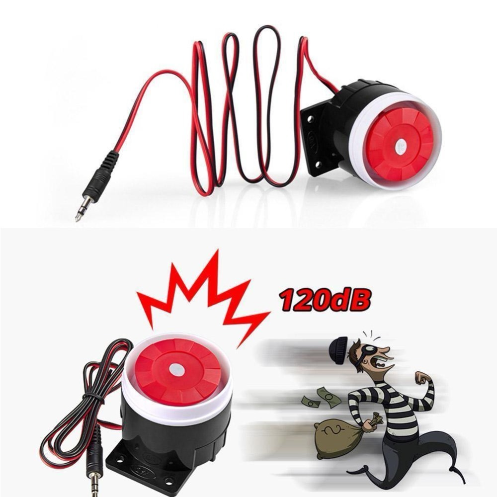 Loud Indoor Siren 120dB Alarm Horn Wired Durable Alarm For Home Security DC 12V 120db loud security alarm siren horn speaker buzzer black red dc 6 16v