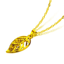 Gold jewelry wholesale.Fashion is hollow-out leaf pendant necklace.Golden necklace charm women.Golden necklace birthday gift floral enamel hollow out pendant necklace