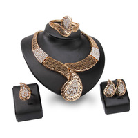 News Saudi Gold Plated Nigerian Wedding Jewelry Set Bridal Dubai Dress Jewelry Sets African Beads Jewelry