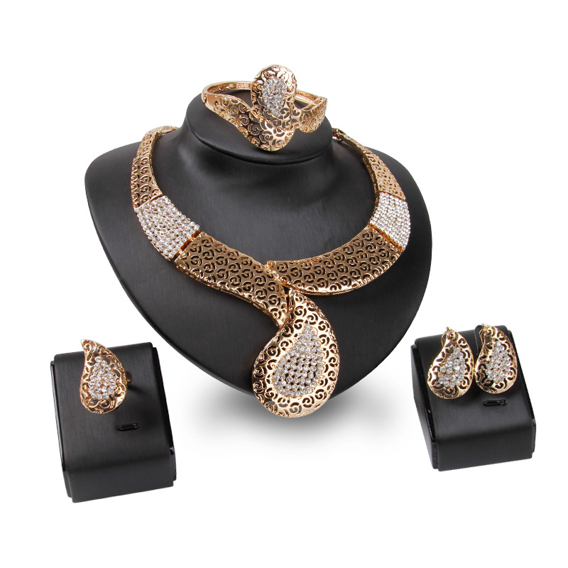 News Saudi Gold Nigerian Wedding Jewelry Set Bridal Dubai Dress Jewelry Sets African Beads Jewelry Set Free Gift Box