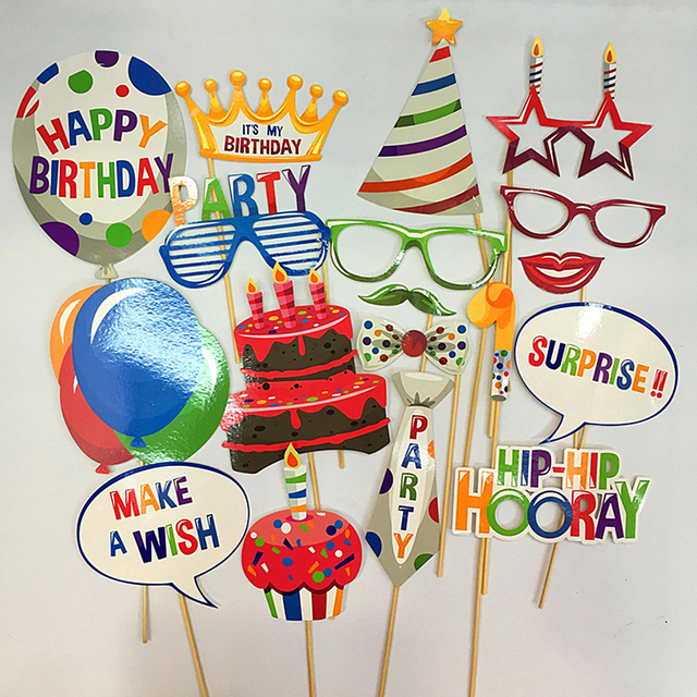 1 Set Fun Birthday Party Photo Props Happy Gift Year Old Girl Boy Baby Cake Balloon Photobooth Tools Event