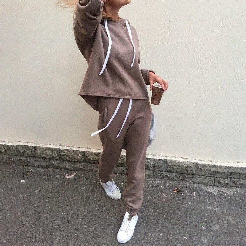 2 peça define Nova moda ternos Casuais outono calças moletom com capuz de lã & solto two-piece set mulheres sólidos hoodies + calças