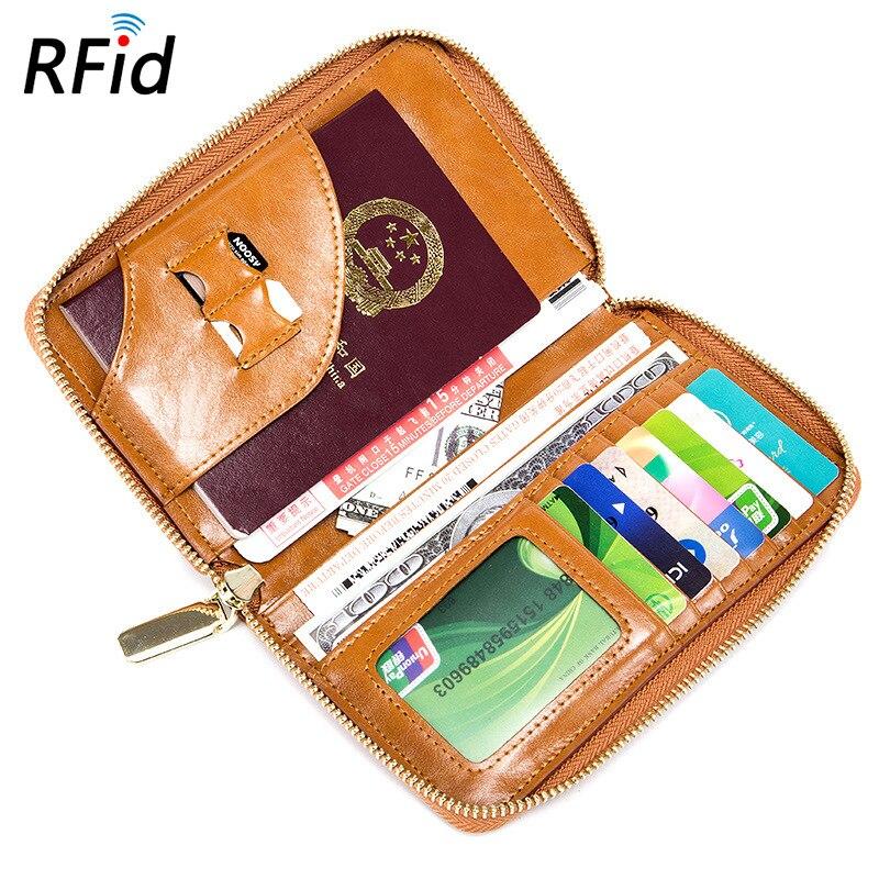 Grande Capacité Passeport Billet Passeport Haut Vache En Cuir RFID Portefeuilles de Zipper Multi-fonction Hommes et Femmes Ultra-mince Voyage Sac