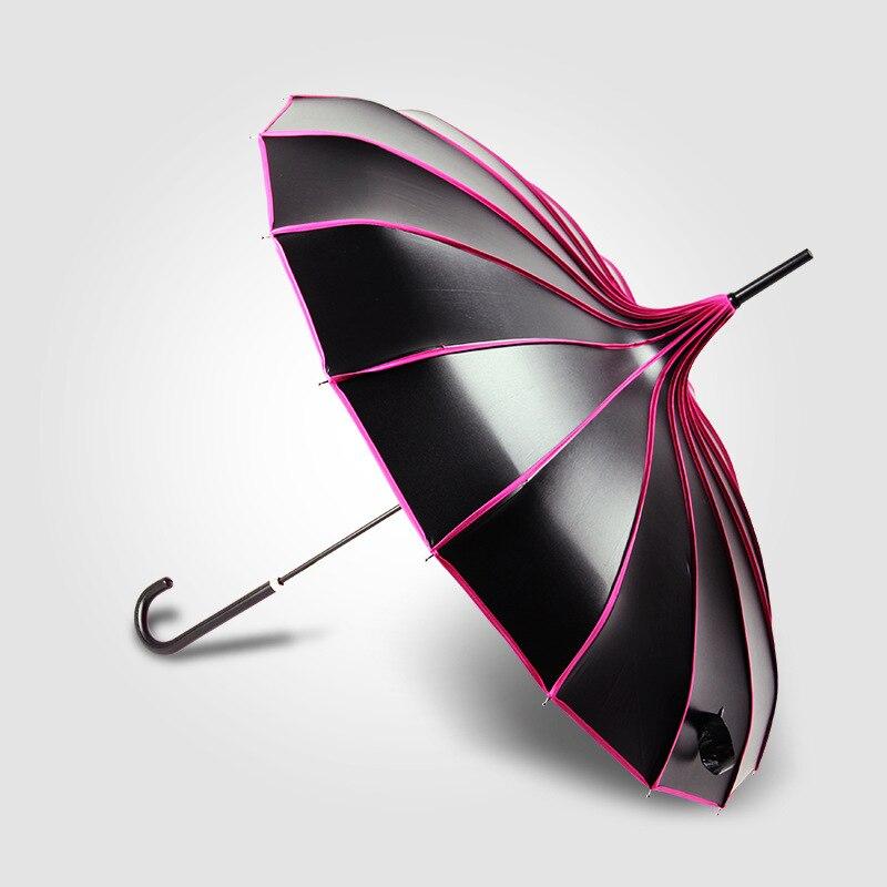 Lange Hand Uv-schutz Sonnenschirm Regnerischen & Sunny Bunte Pagode Regenschirme Fotografie Requisiten Prinzessin Geschenk Regenschirm