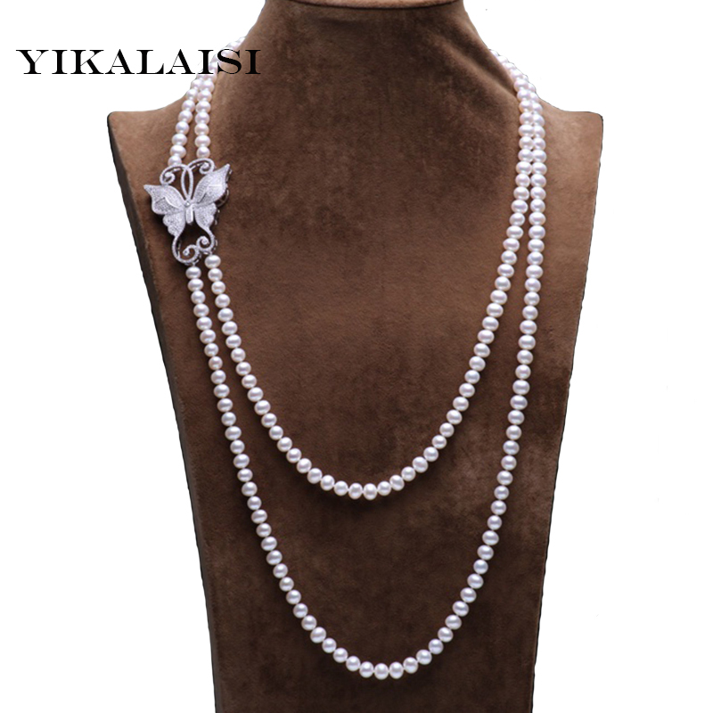 YIKALAISI 2017 New Fashion 100%  genuine freshwater pearl jewelry necklace 160/210cm long pearl necklace Nearround shape pearls YIKALAISI 2017 New Fashion 100%  genuine freshwater pearl jewelry necklace 160/210cm long pearl necklace Nearround shape pearls