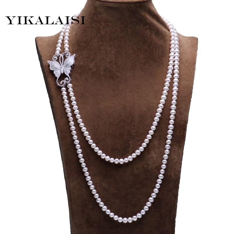 YIKALAISI 2017 nouvelle mode 100% véritable collier de bijoux en perles d'eau douce 160/210 cm long collier de perles en forme de Nearround