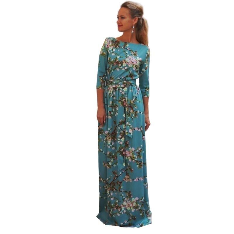 новая осень 2017 женщины макси плюс размер платья longdess небо синий три четверти старинные цветы партия печати длинное платье косплей лонгос