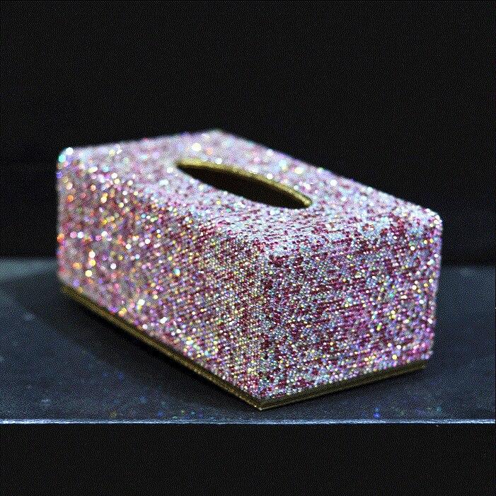 Belle maison bureau papier toilette couverture Case Bling Bling voiture boîte à mouchoirs avec des cristaux de paillettes rose blanc or pour les femmes