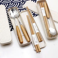 Travel Stainless Portable Cutlery Set Steel Box Kids Pick Lunch Accessories Spoon and Fork Set Cutlery Dinnerware Japan Style 5