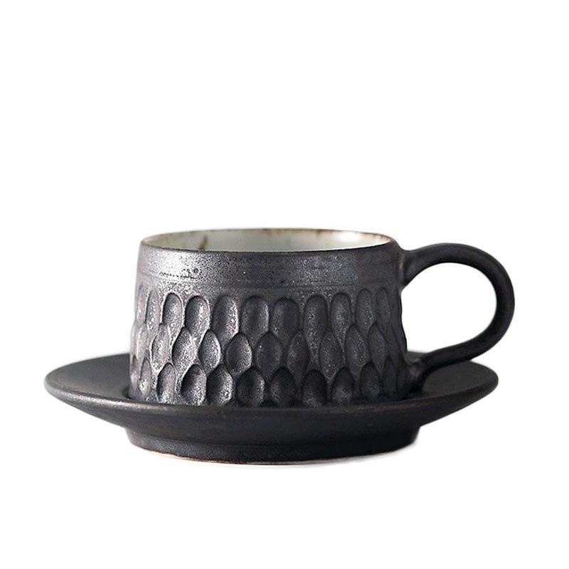 60 ml fait à la main Vintage poterie grossière expresso tasse à café de Style japonais en céramique tasse à café et soucoupe Kit Cappuccino tasses artisanat