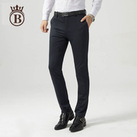 2017 Summer Thin Section Men's High Elastic Business Casual Breathable Solid Color Straight trousers
