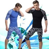 Straitest Male Sports Set Camouflage Leopard Print Short Sleeve T Shirt Capris Fitness Running Training Service