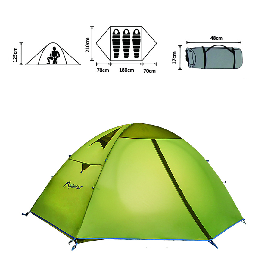 3 Persons Double Layer Outdoor Tent Waterproof Tents Camping Family Travel PU 3000mm Coating Fabric maxwell mw 2015m gd фен выпрямитель для волос