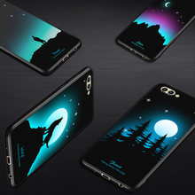 Luminous Case for Huawei Honor 9 Lite View 10 Painted Wolf Cover Soft Silicon Honor 8 Pro P9 P8 Lite 2017 Case(China)
