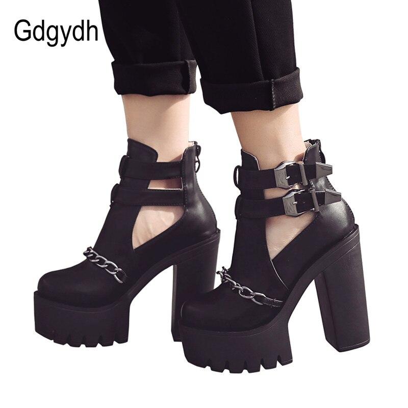 Gdgydh Printemps Automne Mode bottines Pour hauts talons femmes décontracté découpes Boucle Bout Rond Chaîne Épais Talons chaussures à semelles compensées - 5