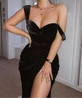 Top Quality Black Fashion Slip Open Fork Dress Homecoming Party Sexy Dress