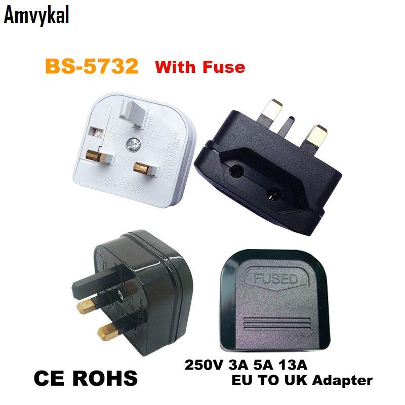 Amvykal CE ROHS BS-5732 AC Power Electrical Plug EU To UK Plug Adapter UK Travel Charger Converter With Fuse 1000 Pcs/lot