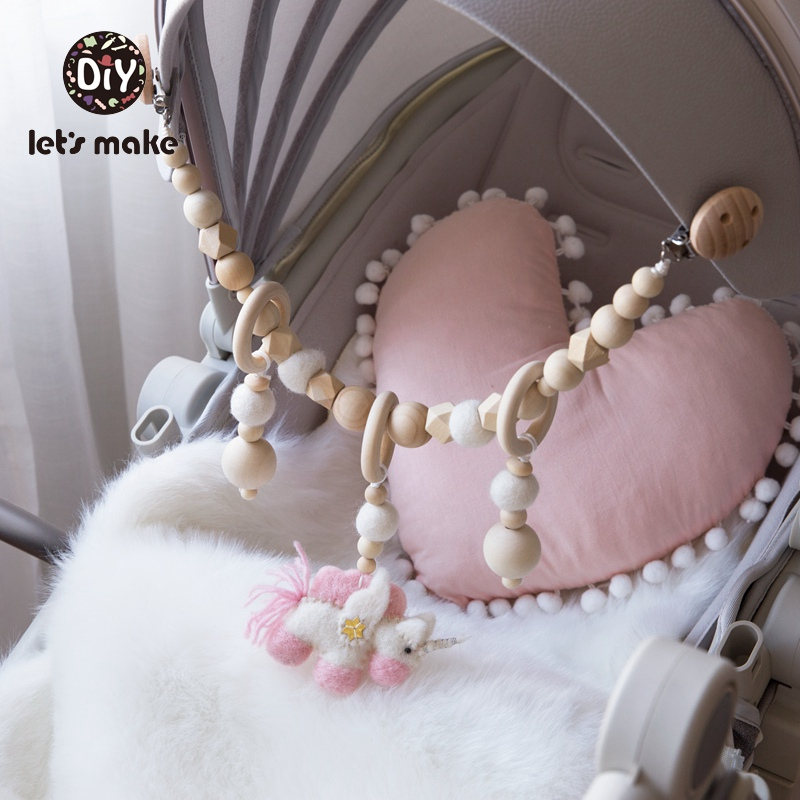 Let's Make Baby Rattle Wooden Rattles Wool Ball Wood Ring Crib Mobile Unicorn 1PC 0-12 Months Soft Musical Food Grade Bed Bell