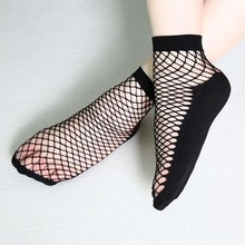 Ahluci 2017 Women Sexy Black Hollow Out Fishnet Socks Girls Punk Mesh Breathable Short Hosiery Ankle Socks Calcetines Mujer